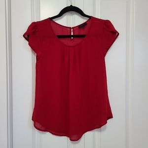 Red Flutter Sleeve Blouse